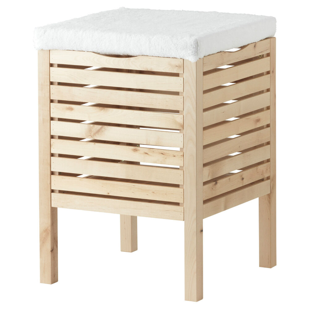 new ikea storage stool bench bin solid birch wood bathroom spa closet molger ebay. Black Bedroom Furniture Sets. Home Design Ideas
