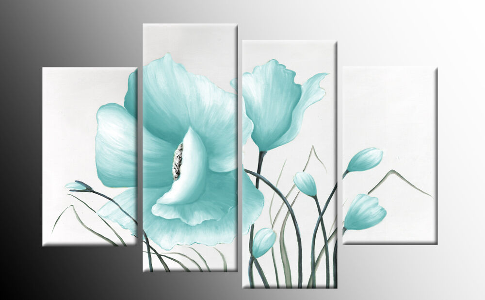 Duck Egg Blue Floral Flower Canvas Picture Wall Art Split