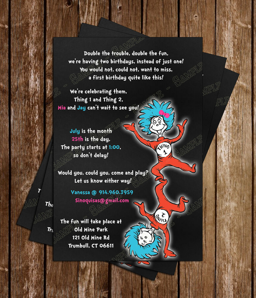 Dr Seuss -Thing 1 And Thing 2- Birthday Invitations