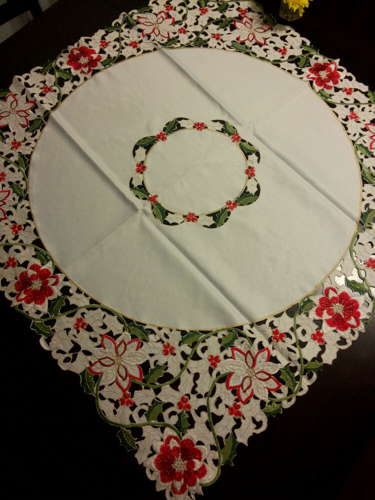 33 Quot Square Poinsettia Embroidered Tablecloth Cutwork Table