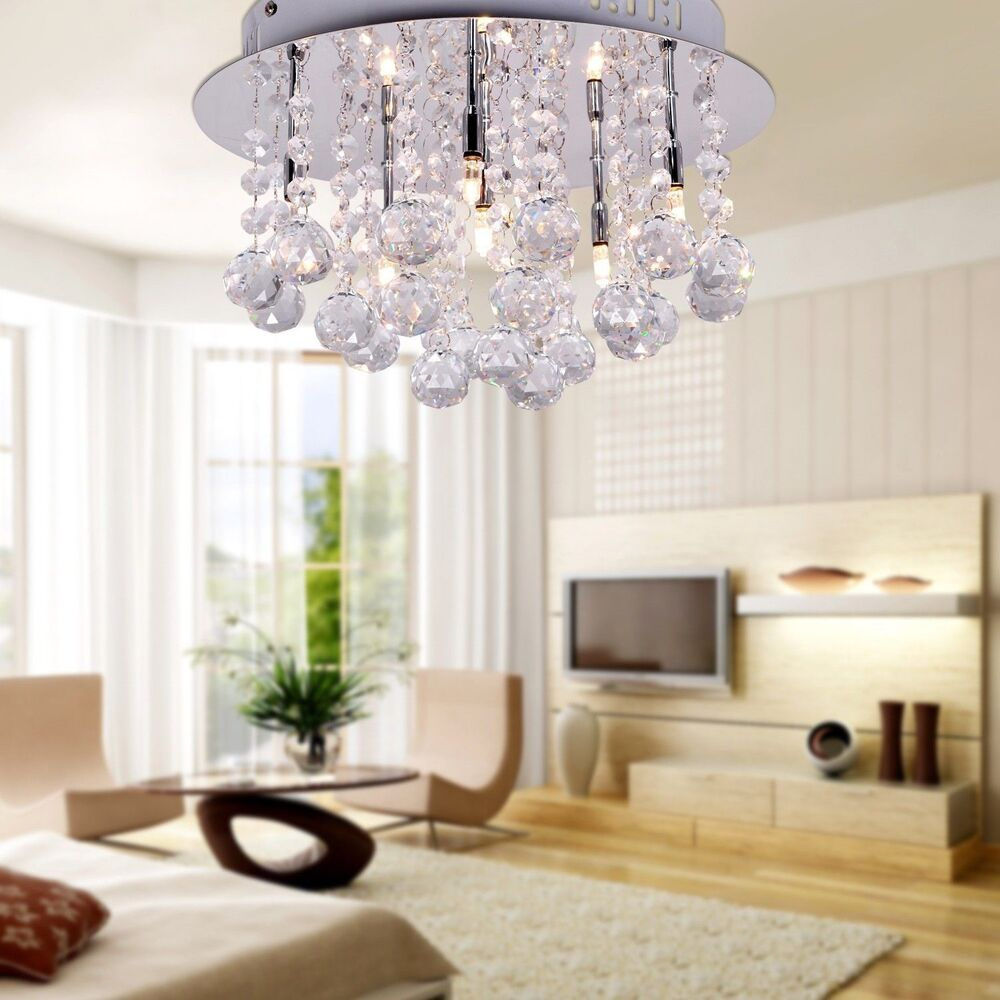 LED Crystal Glass Chandelier Round Ceiling Light Pendant