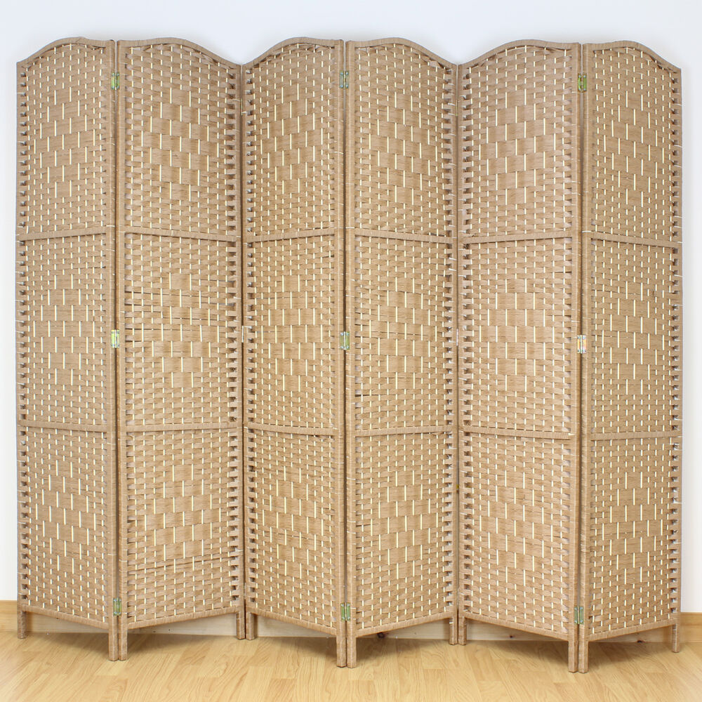 panel solid weave wicker room divider hand made privacy screen ebay