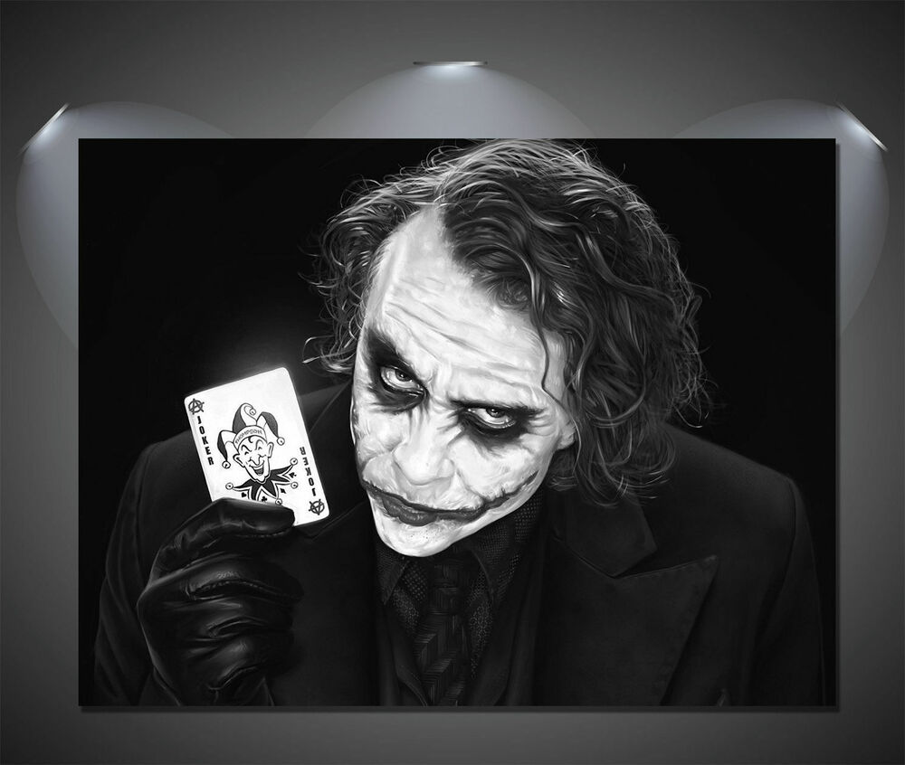 The joker heath ledger black white vintage movie canvas print a0 a1 a2 a3 a4 ebay