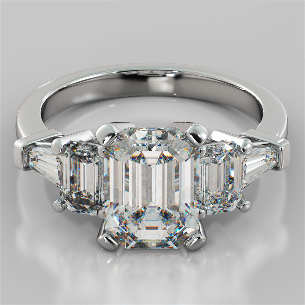 emerald cut 5 stone engagement ring in 14k white. Black Bedroom Furniture Sets. Home Design Ideas