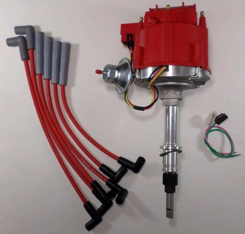 Surprising Amc Jeep Inline 6 232 258 6 Cylinder Hei Distributor Red Plug Wires Wiring Cloud Hisonuggs Outletorg