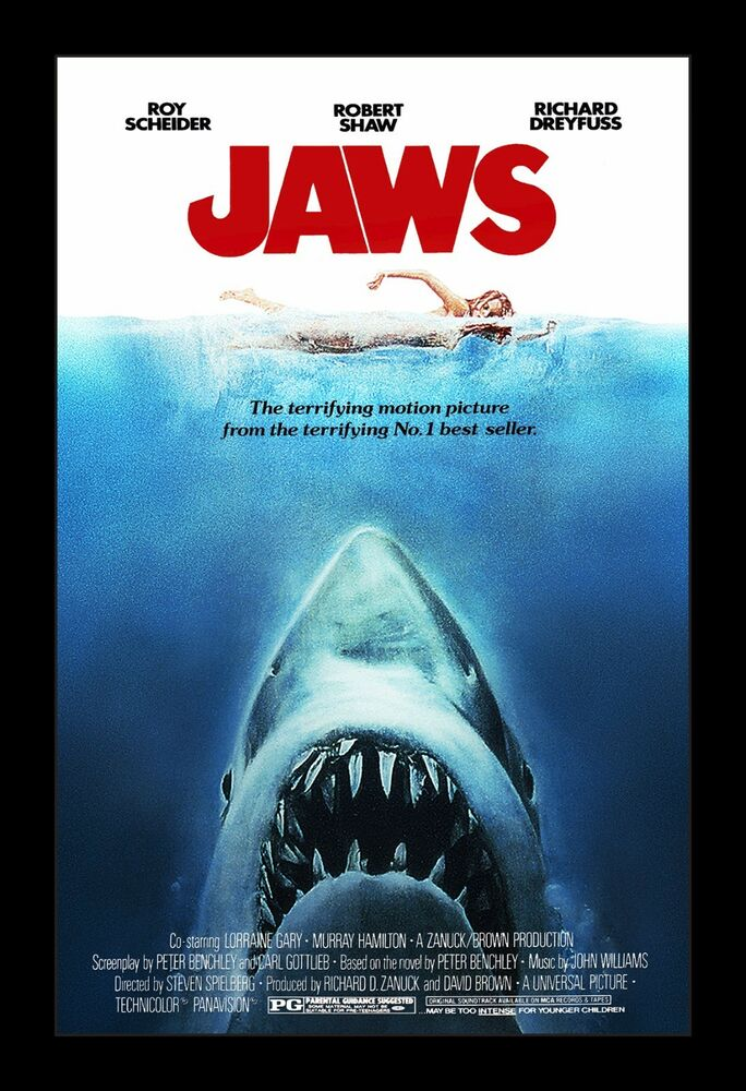 JAWS framed movie poster 11x17 Quality Wood Frame | eBay