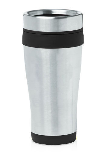 black 16 oz stainless steel insulated travel coffee tea mug ebay. Black Bedroom Furniture Sets. Home Design Ideas