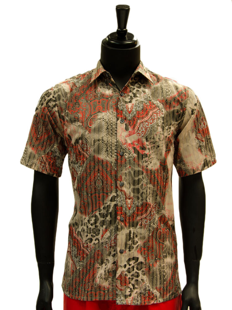 Lavane Mens Black Red Paisley Pattern Button Up Dress