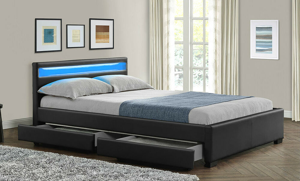 Double King Size Bed Frame with 4 Drawers Storage LED