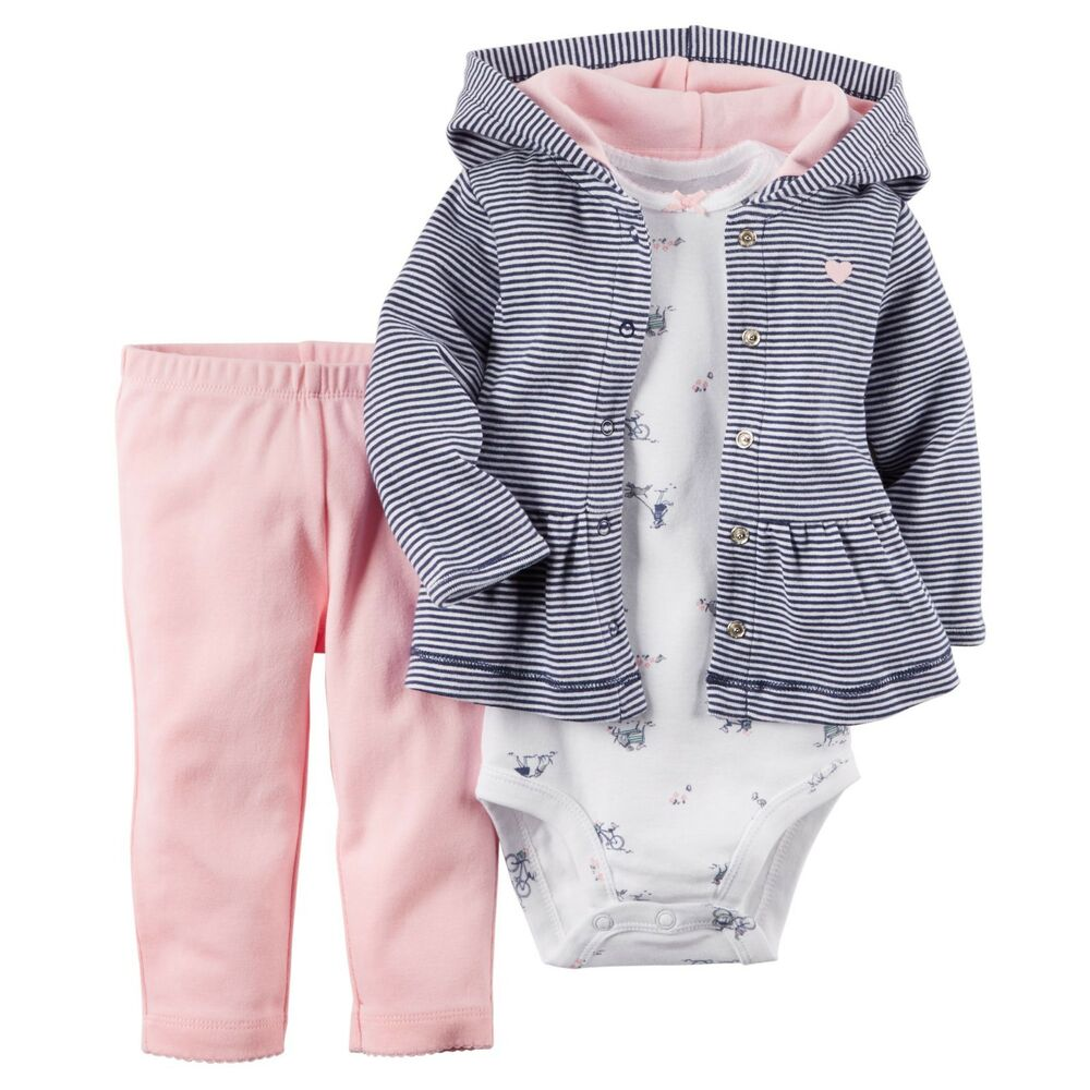 Carters Newborn 3 6 9 12 Months Cardigan Pants Set Baby