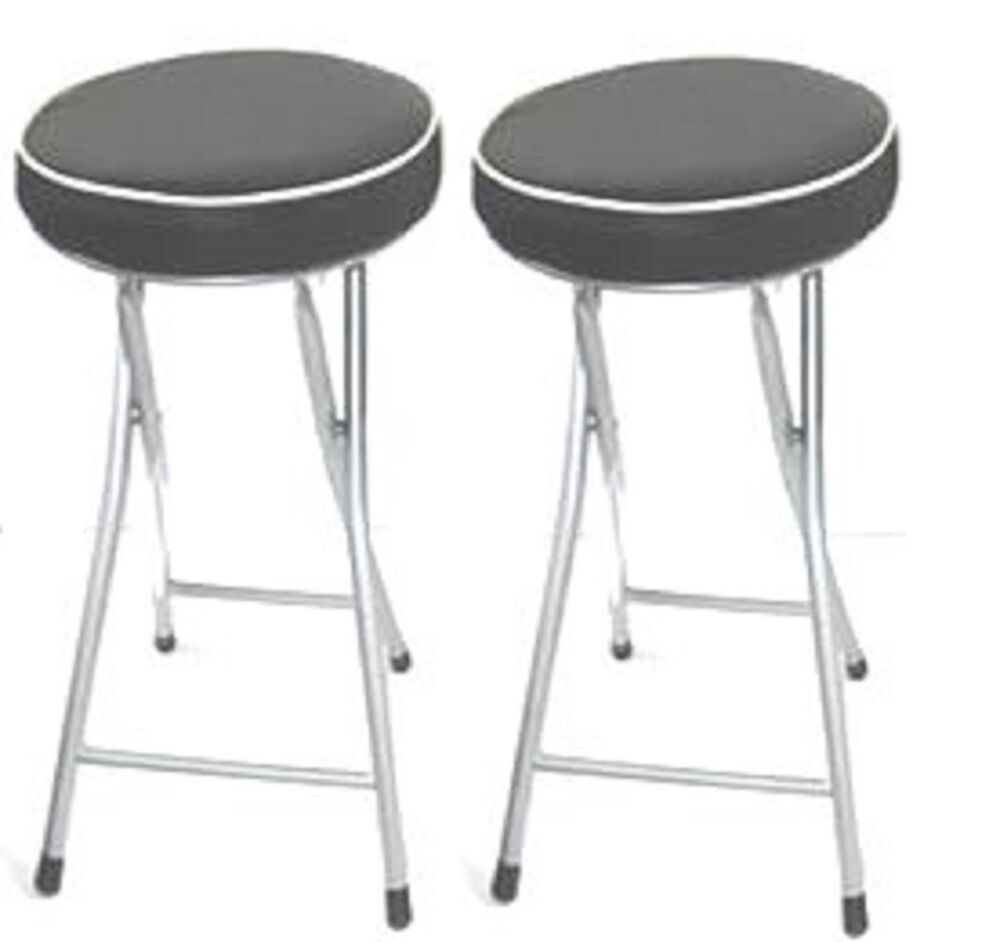 Set Of 2 Kitchen Black Soft Padded Round Folding Stool