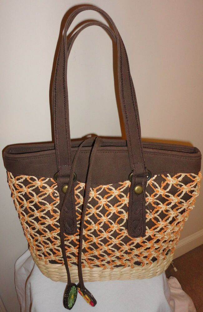 Lucky Brand Straw Tote Shoulder Bag Shopper Travel Beach