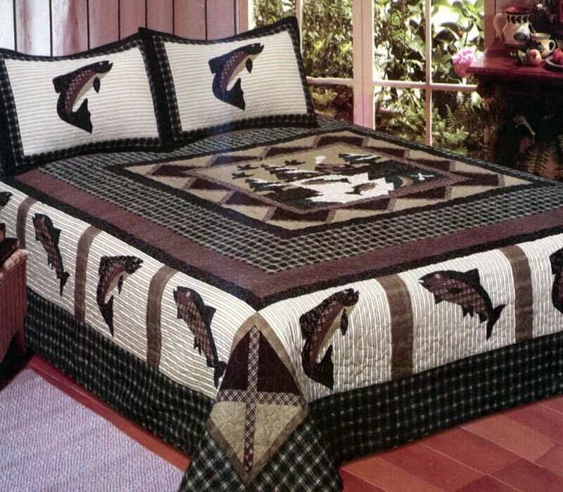 Fisherman 39 s wharf 3 pc queen quilt bedding set cabin lake for Fishing bedding sets