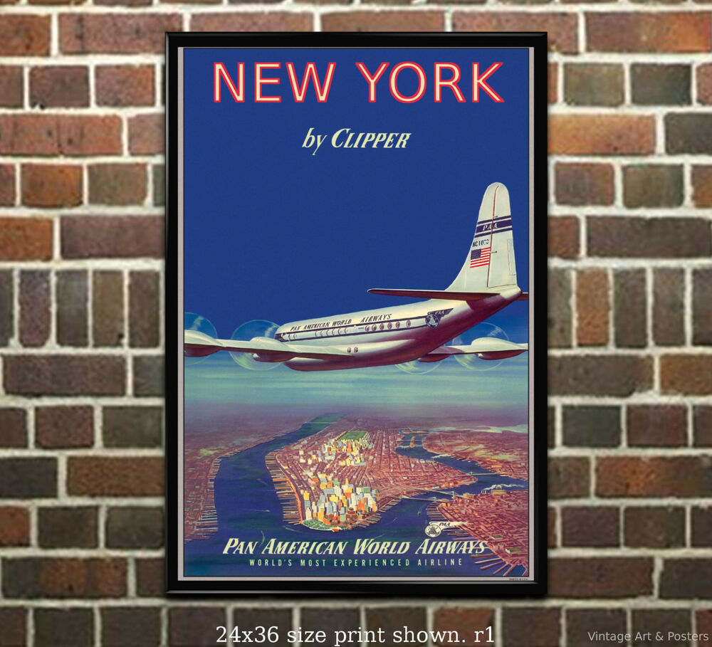 pan am new york vintage airline travel poster ebay. Black Bedroom Furniture Sets. Home Design Ideas