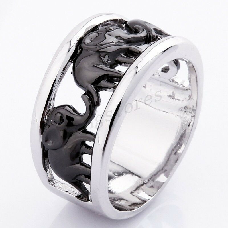 black lucky elephant ring womens white gold filled