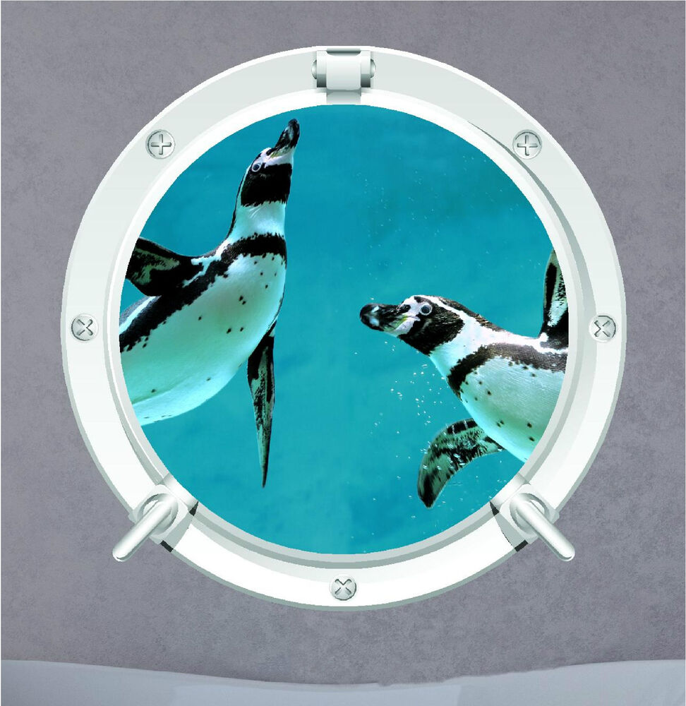 underwater wall stickers ebay penguin porthole under water aqua sea wall art sticker decal transfer mural
