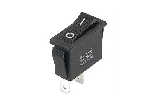 Interruttore a bilanciere 220V 16A unipolare tasto nero 32x14mm switch 12V 1251