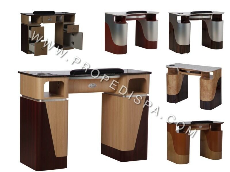 Gel dryer drawer manicure nail table with marble for spa for Nail salon table