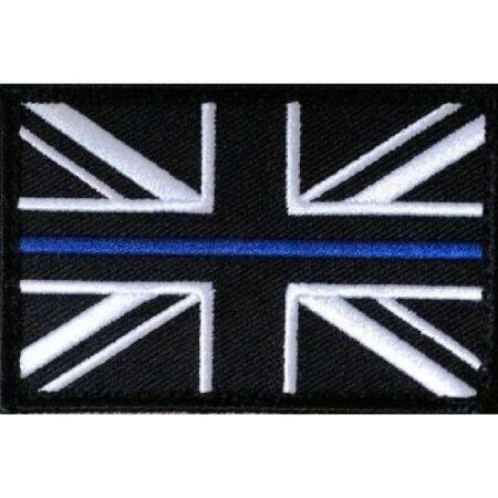 img-Thin Blue Line Police - Union Jack VELCRO® patch UK Badge insignia small