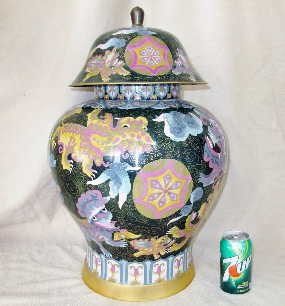 Huge 24 5 Quot Vintage Chinese Cloisonne Ginger Jar With Celestial Clouds Amp Foo Dogs Ebay