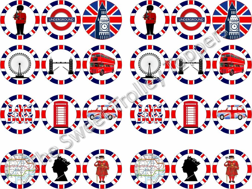 london themed wedding cake toppers 24 city themed edible rice icing paper cupcake bun 16927