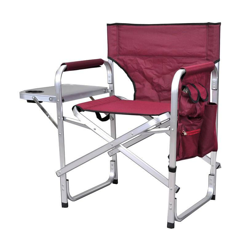 Camping folding sport director s chair table burgundy - Table pliante avec rangement chaise ...