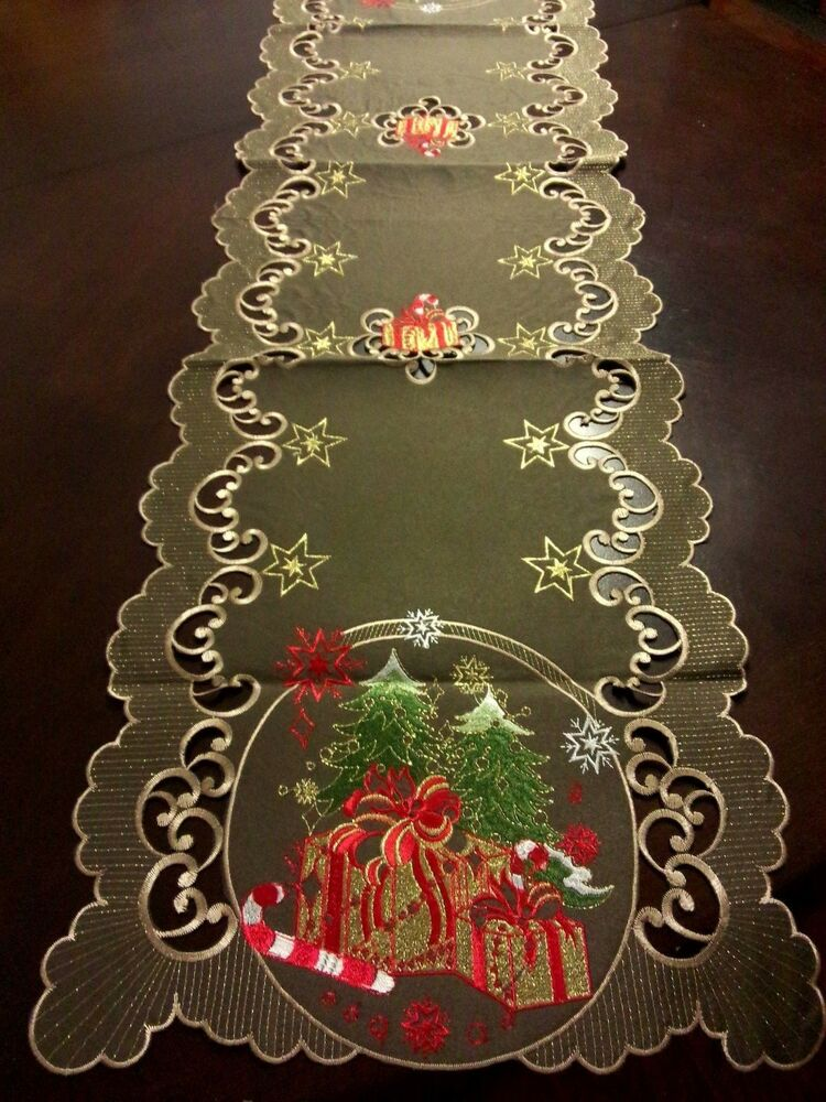16 Quot X72 Quot Embroidered Christmas Tablecloth Candy Cane Tree