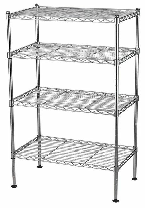 metal storage rack shelving 4 shelf wire rack steel metal chrome 23294