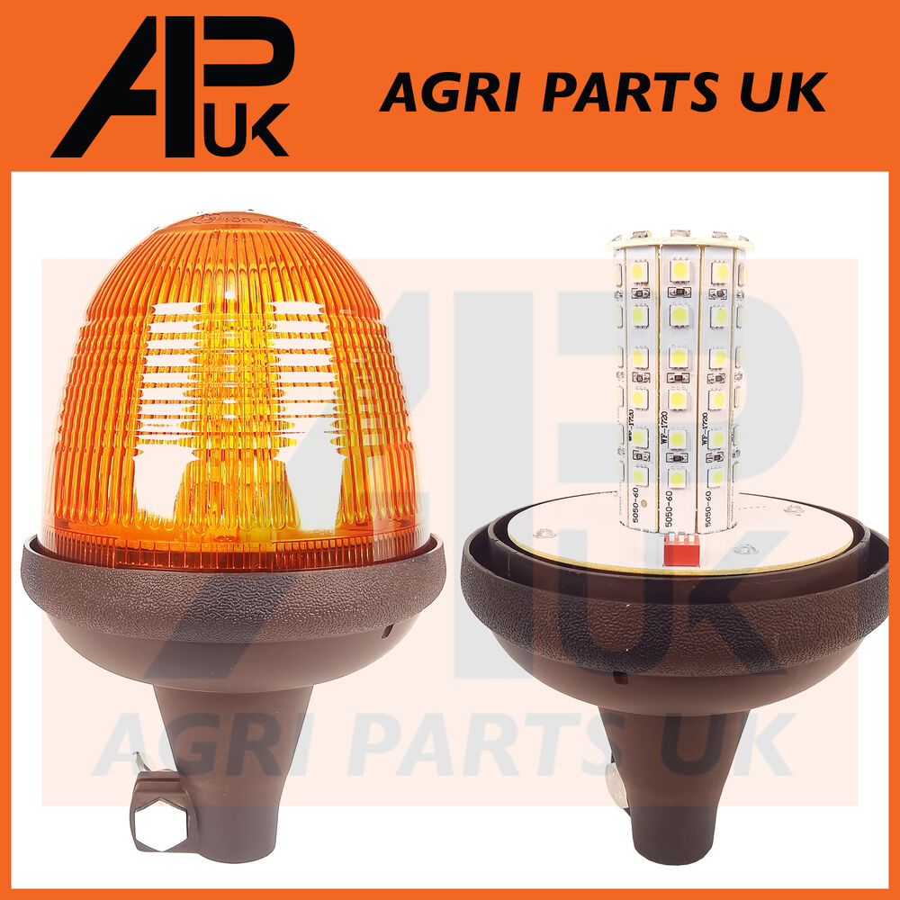 Tractor Amber Safety Lights : Led rotating flashing amber beacon flexible din pole mount