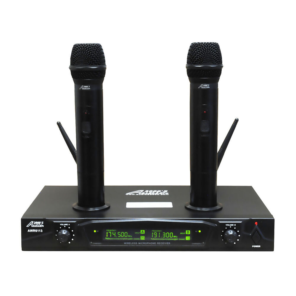 audio 2000s awm6113 vhf dual channel mic rechargeable wireless microphone ebay. Black Bedroom Furniture Sets. Home Design Ideas