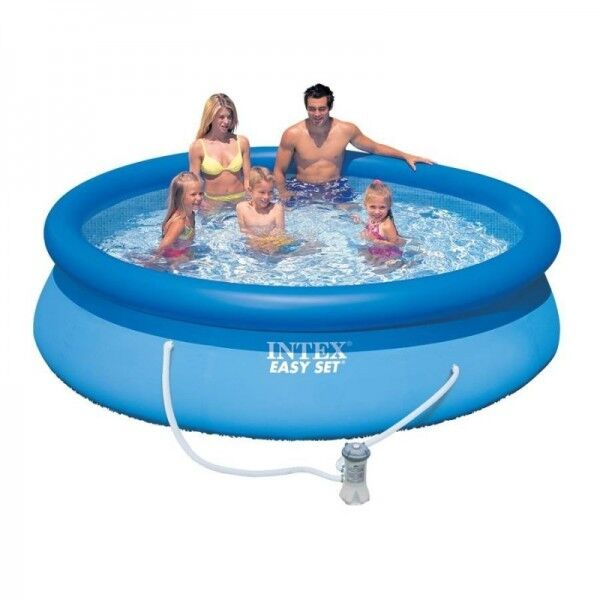 Intex 8ft 10ft 12ft 15ft Easy Set Round Swimming Pool With Pump Filter Ebay