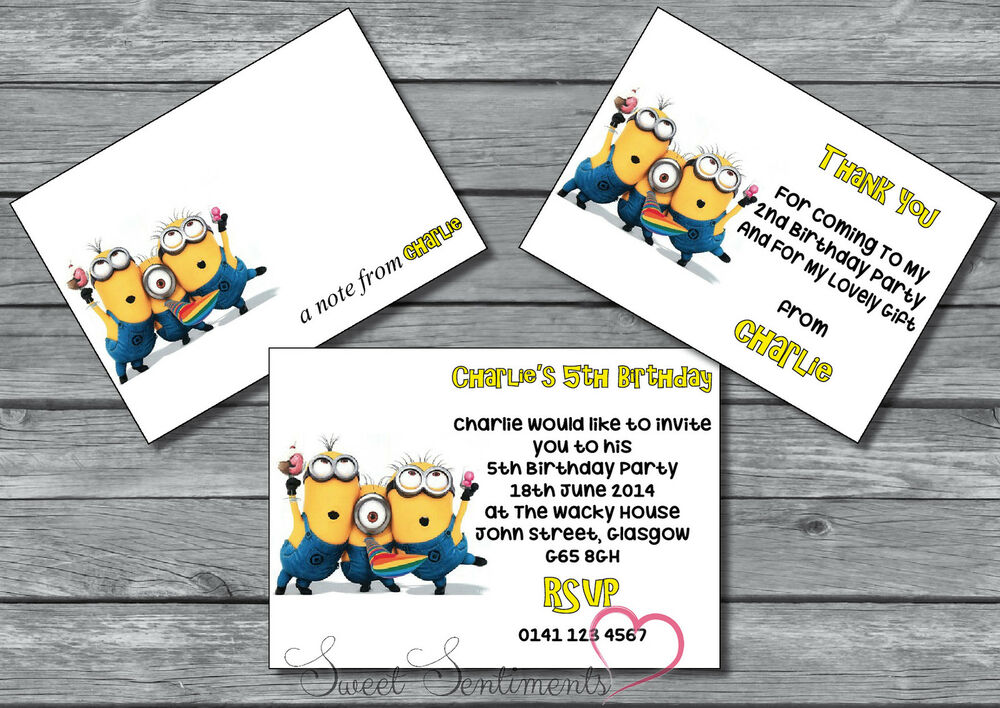 Personalised Minions Birthday Party Invitation / Thank You Card ...