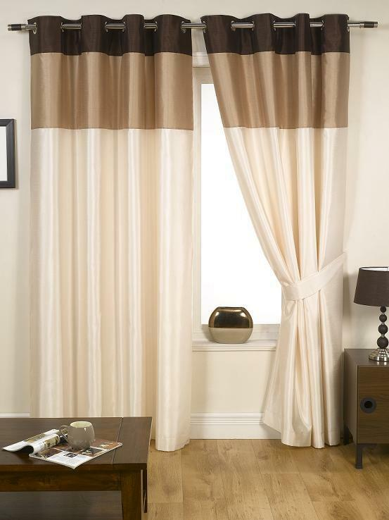 cream living room curtains harmony striped faux silk ready made curtains eyelet 14824