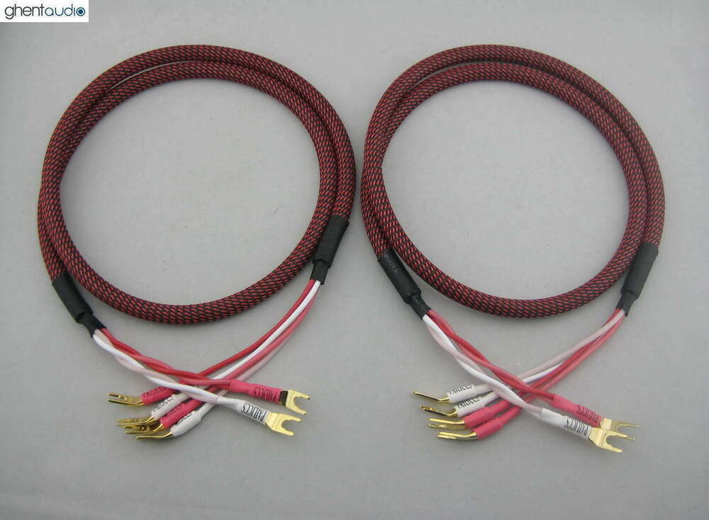 s01bw c 8ft pair hifi canare bi wire speaker audio cable 2 to 4 spades ebay. Black Bedroom Furniture Sets. Home Design Ideas