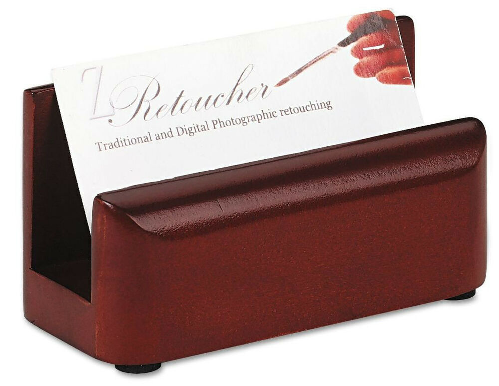 Wood Business Card Holder Desk Counter Rolodex Eldon