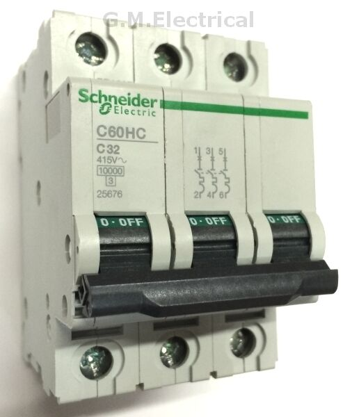 Schneider Acti9 iC60H A9F55302 Type D 2A Amp Triple Pole 3 Phase MCB Breaker Circuit Breakers & Disconnectors