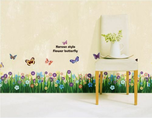 wandtattoo garten gras blumen schmetterlinge wand. Black Bedroom Furniture Sets. Home Design Ideas