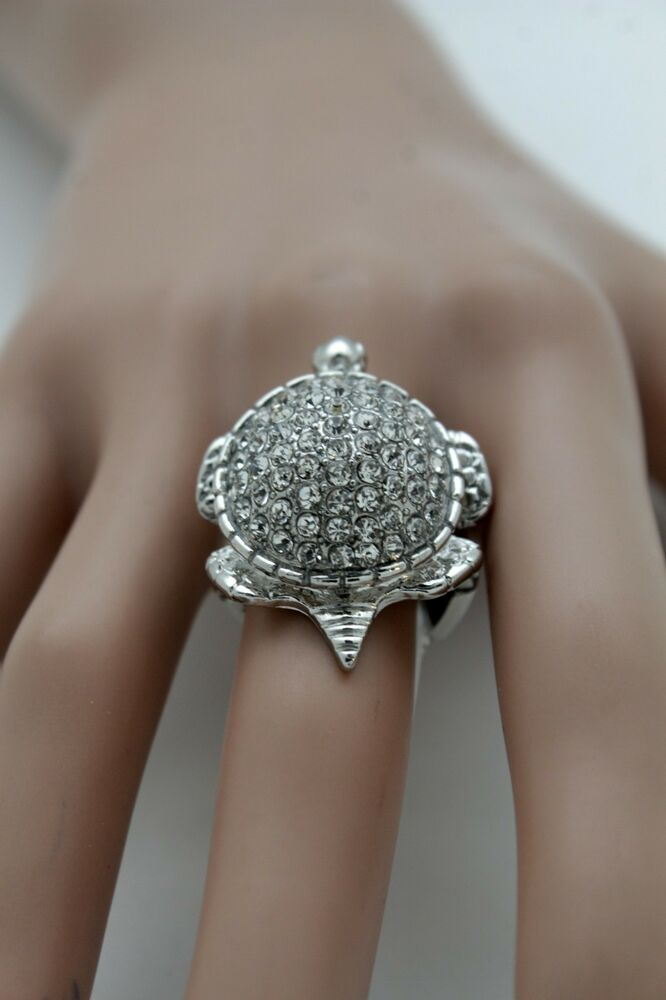 new women silver ring flower floral fashion double finger metal band rhinestones