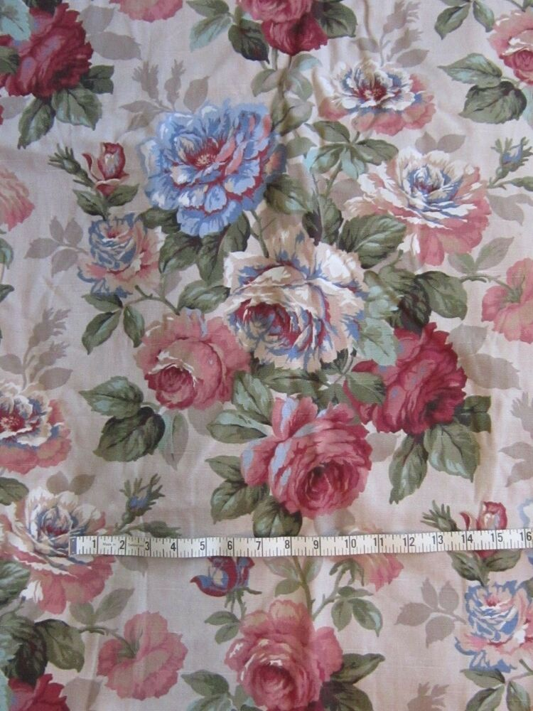 shabby cottage chic pink blue roses upholstery fabric. Black Bedroom Furniture Sets. Home Design Ideas