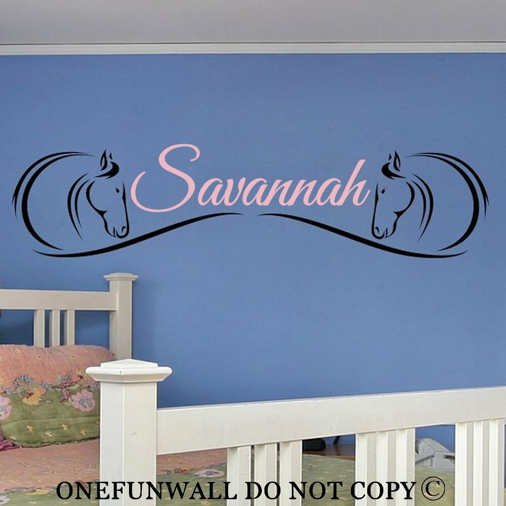 personalized name 2 horse heads vinyl wall decal sticker. Black Bedroom Furniture Sets. Home Design Ideas
