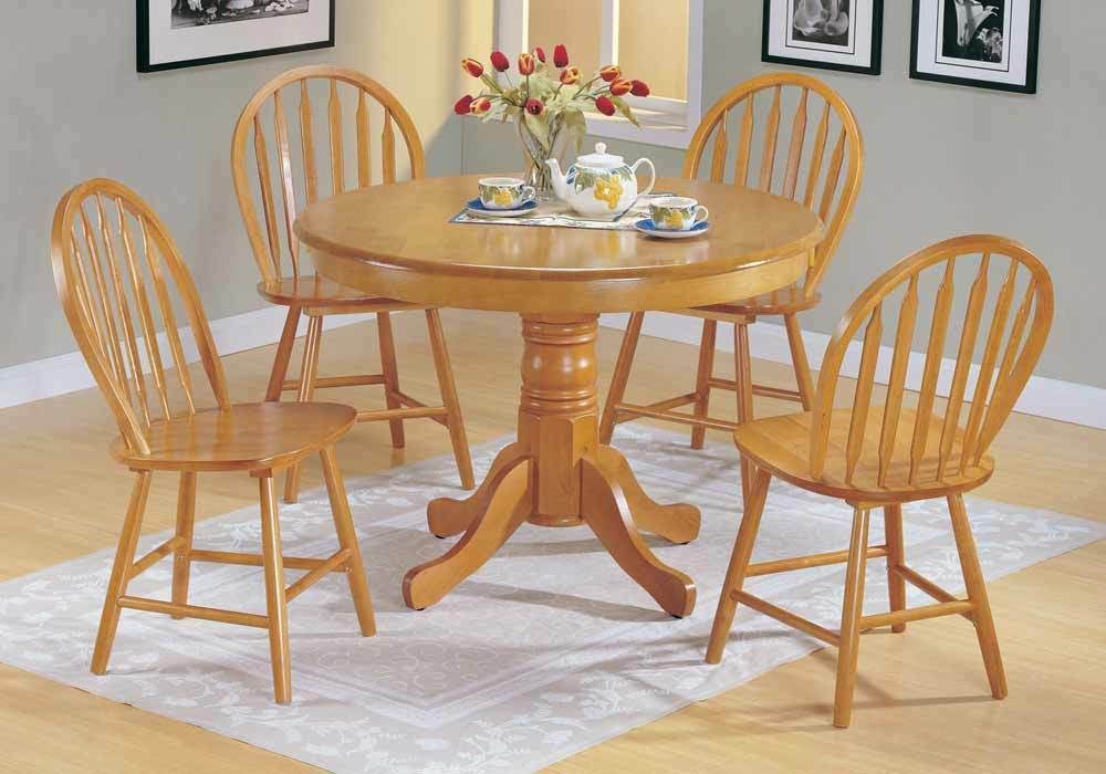 Farmhouse 5 pc country solid wood round dining pedestal for Solid wood round dining table with leaf