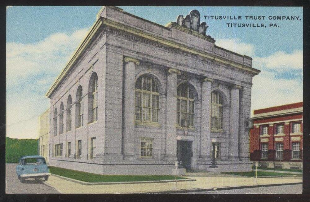 Titusville (PA) United States  city photos gallery : Postcard Titusville Pennsylvania PA Trust Company Bank Building View ...