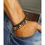 Mens Leather Bracelet Man Surfer Wristband Beads Rope Beaded Wrap For Men