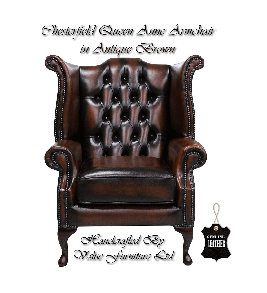 chesterfield traditional london queen anne high back armchair antique brown uk ebay. Black Bedroom Furniture Sets. Home Design Ideas