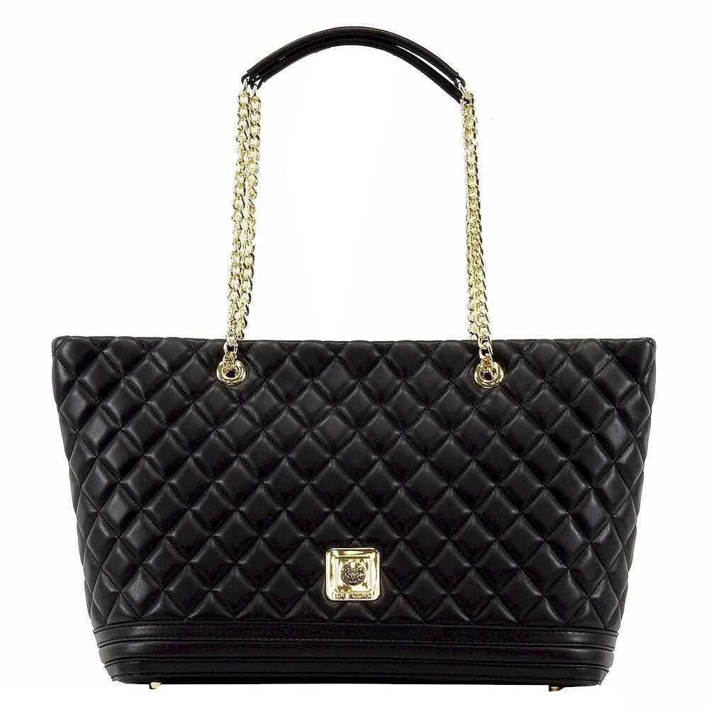 love moschino women 39 s quilted nappa leather tote handbag ebay. Black Bedroom Furniture Sets. Home Design Ideas