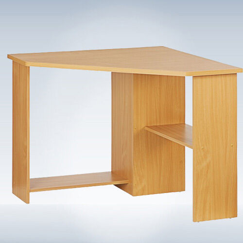 Home office desk beech furniture computer corner desks tables 2 storage shelves ebay - Corner desks with shelves ...
