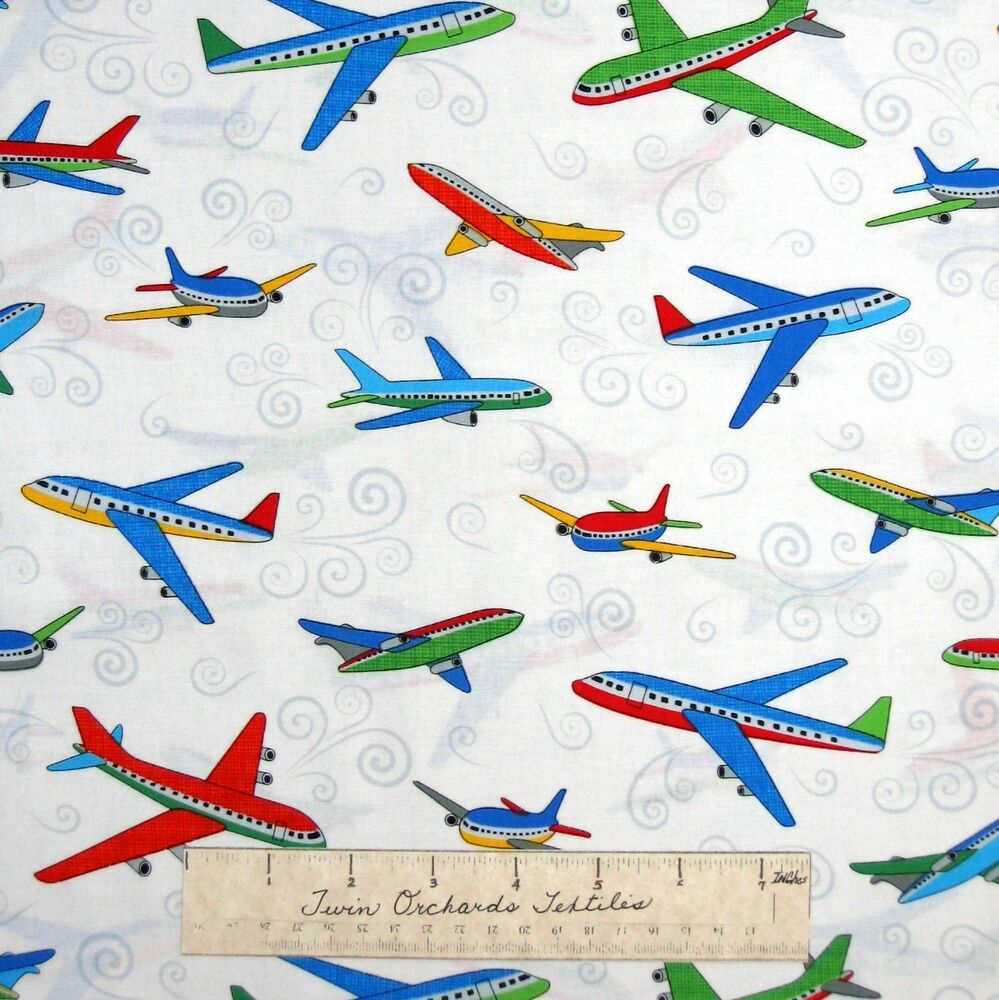 Airplane fabric city construction planes white for Airplane fabric by the yard
