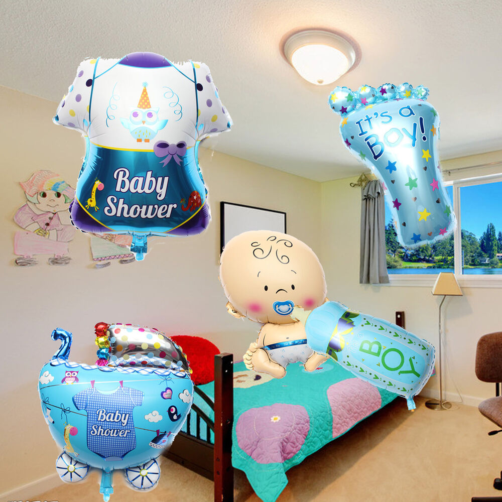 5pcs set baby boy shower balls birthday helium foil for Baby shower decoration set