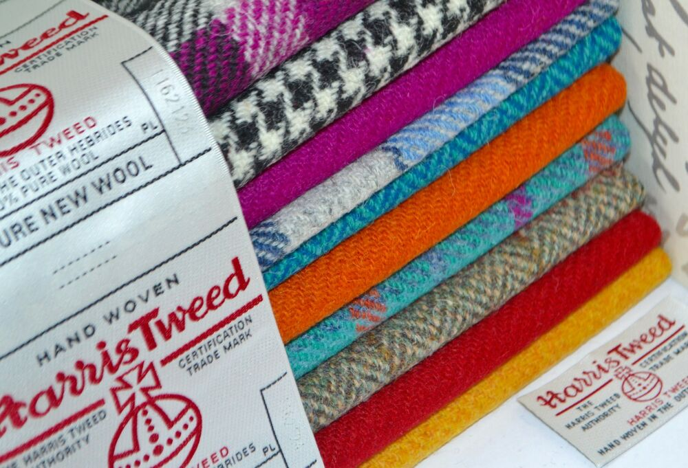 harris tweed fabric labels 100 wool tartan herringbone