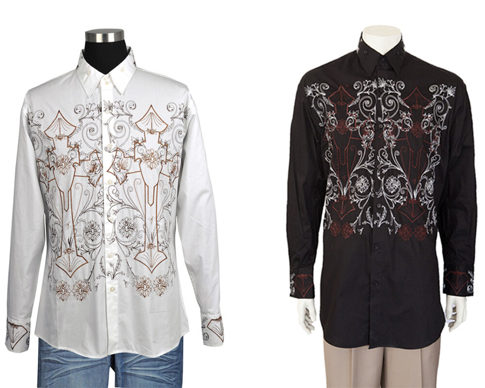 Men 39 s casuasl shirt with embroidered design by milano moda for Moda e design milano